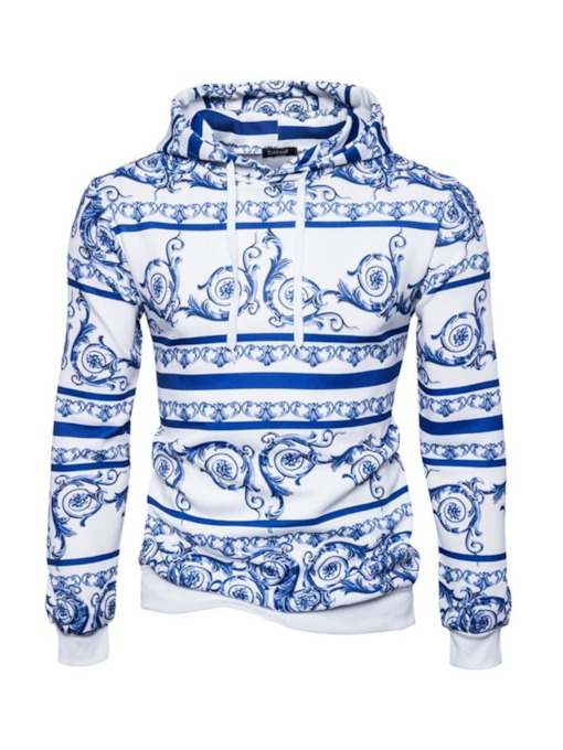 Blue-and-white Pattern Print Pullover Slim Men's Hoodie