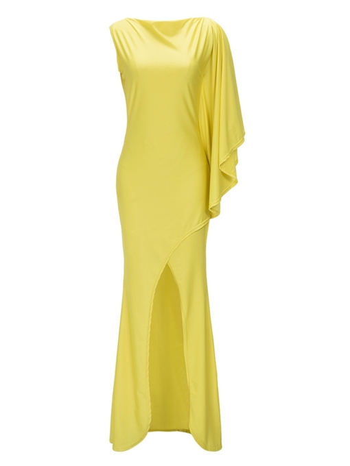 Asymmetric Plain Mermaid Women's Maxi Dress