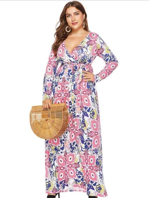 Plus Size Print Long Sleeve V-Neck A-Line Women's Maxi Dress