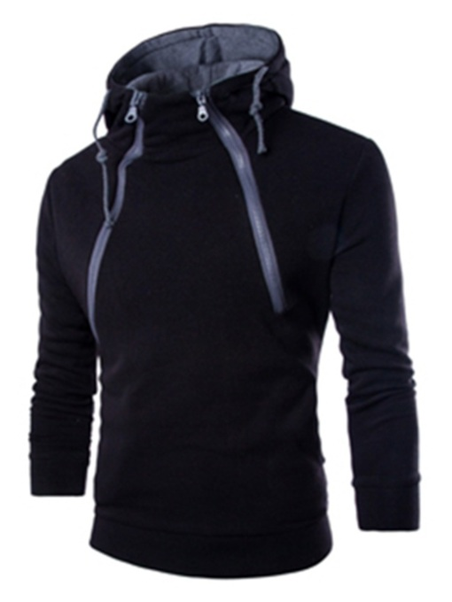 Pullover Plain Zipper Sports Men's Hoodie