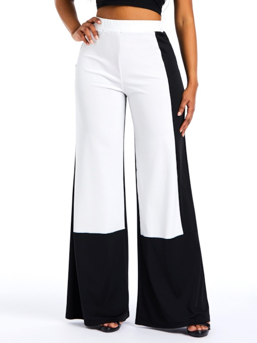 Patchwork Color Block Wide Legs Women's Casual Pants