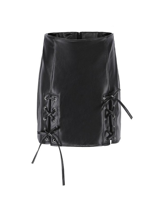 Plain Bodycon Lace-Up High-Waist Women's Mini Skirt