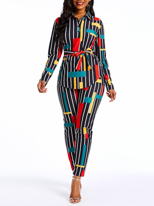 Print Sexy Pants Stripe Women's Two Piece Sets