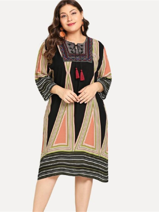 Round Neck Print Pullover Women's Long Sleeve Dress