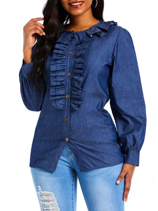 Stringy Selvedge Mid-Length Denim Women's Blouse