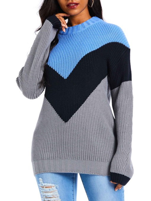 Color Block Geometric Pattern Mid-Length Women's Sweater