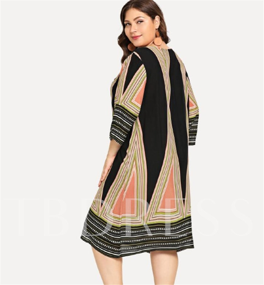 Plus Size Round Neck Print Pullover Women's Long Sleeve Dress