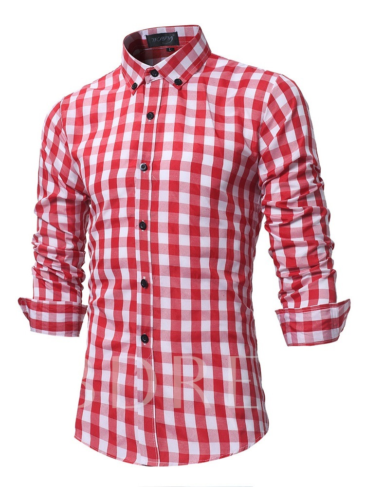 Slim Lapel Plaid Men's Shirt