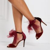 Burgundy Mesh Knot Stiletto Heel Women's Pumps