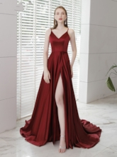 Spaghetti Straps Floor-Length Split-Front Evening Dress 2019