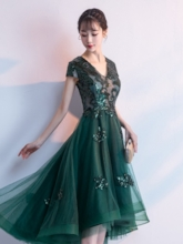 Asymmetry Cap Sleeves Appliques V-Neck Prom Dress