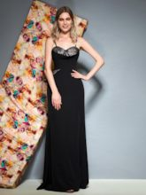 Spaghetti Straps Sleeveless Lace A-Line Evening Dress