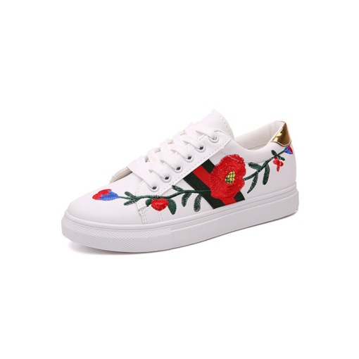 Low-Cut Upper Platform Lace-Up Round Toe Embroidered Sneakers