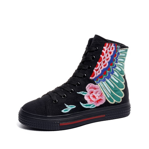 Embroidered Platform Round Toe Lace-Up High Top Casual Sneakers