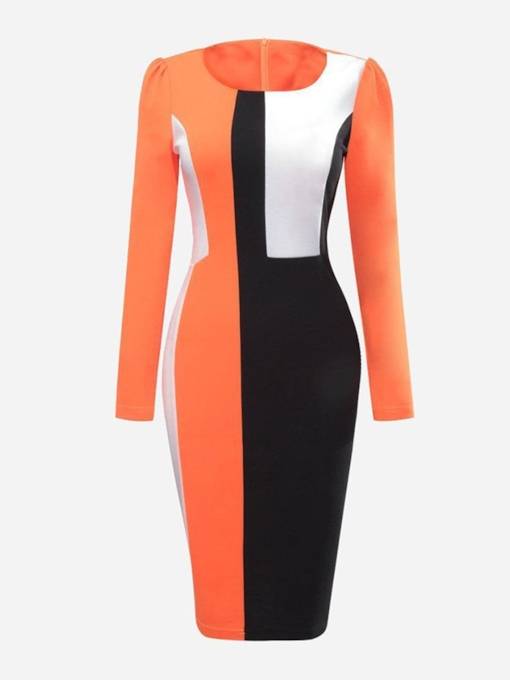 Patchwork Long Sleeve Pencil Women's Bodycon Dress