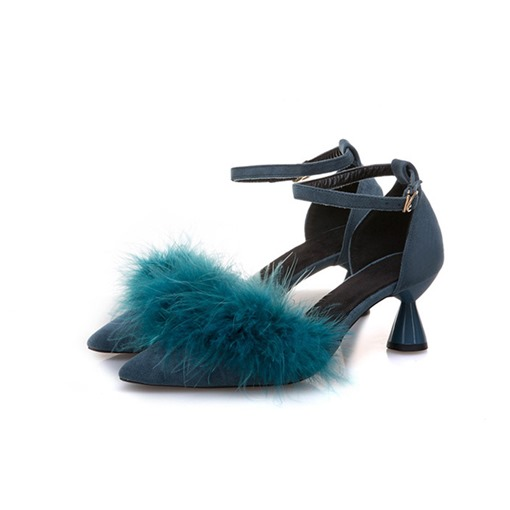 Pointed Toe Line-Style Buckle Shaped Heel Women's Pumps