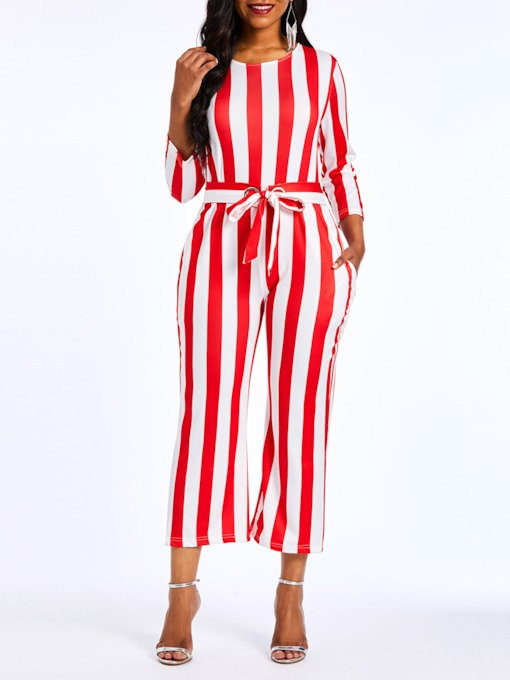 Mid-Calf Print Color Block Casual Slim Women's Jumpsuits