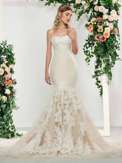 Spaghetti Straps Lace Mermaid Wedding Dress 2019