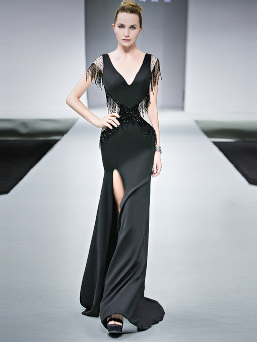 Tassel Sheath Floor-Length V-Neck Evening Dress