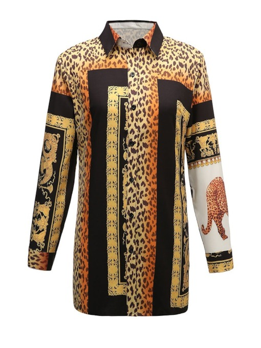 Color Block Leopard Print Mid-Length Women's Shirt