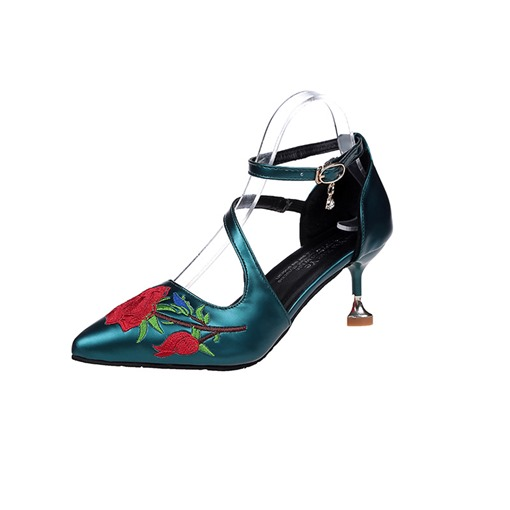 Line-Style Buckle Pointed Toe Stiletto Heel Embroidered Women's Pumrps