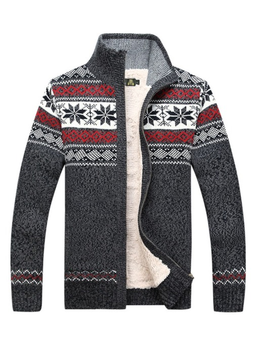 Stand Collar Cardigan Men's Sweater