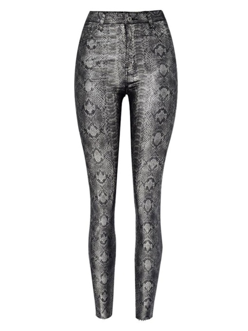 Button Serpentine Skinny Ankle Length Women's Leggings