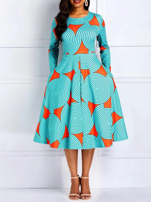 Prints Round Neck Geometric Women's Long Sleeve Dress