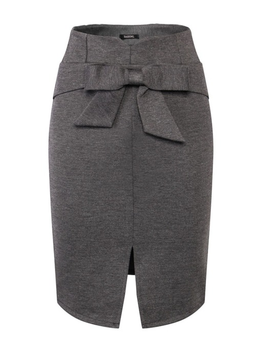 Bodycon Bowknot Knee-Length Split Women's Skirt