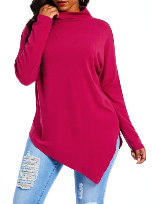 Plain Turtleneck Asymmetric Women's Sweatshirt