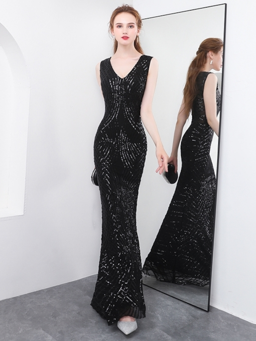 V-Neck Sleeveless Trumpet Sequins Evening Dress