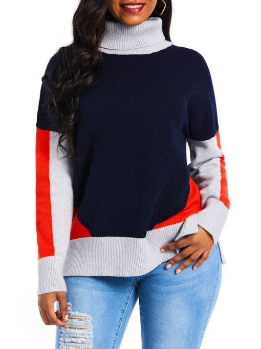 Turtleneck Color Block Patchwork Women's Sweater