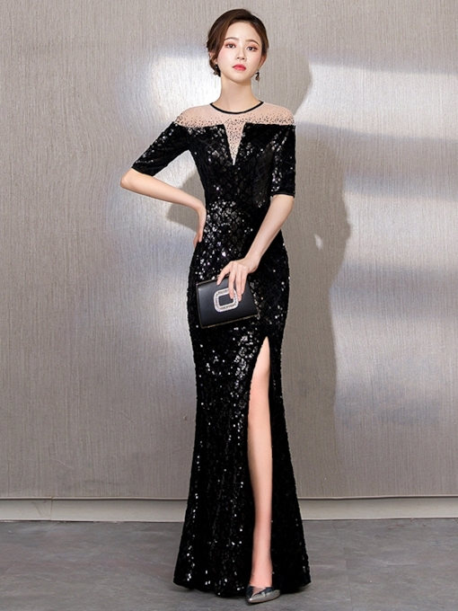 Floor-Length Sheath Beading Jewel Evening Dress 2019