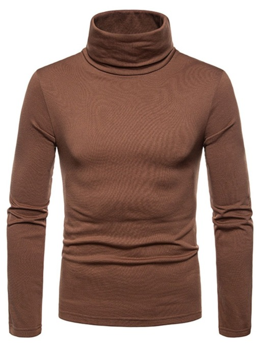Turtleneck Plain Casual Slim Men's T-shirt