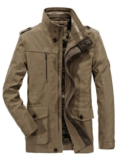 Plain Pocket Stand Collar Men's Jacket
