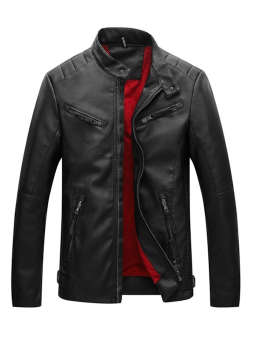 Plain Stand Collar Zipper Men's Leather Jacket