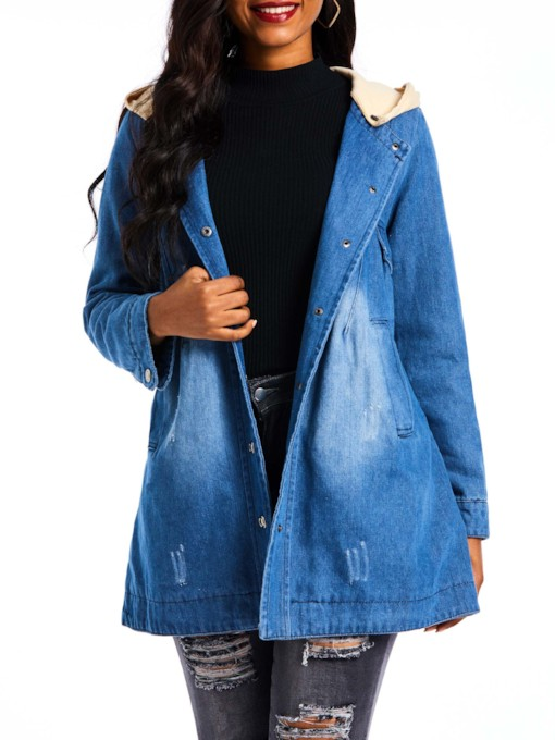 Straight Mid-Length Detachable Hooded Women's Denim Jacket