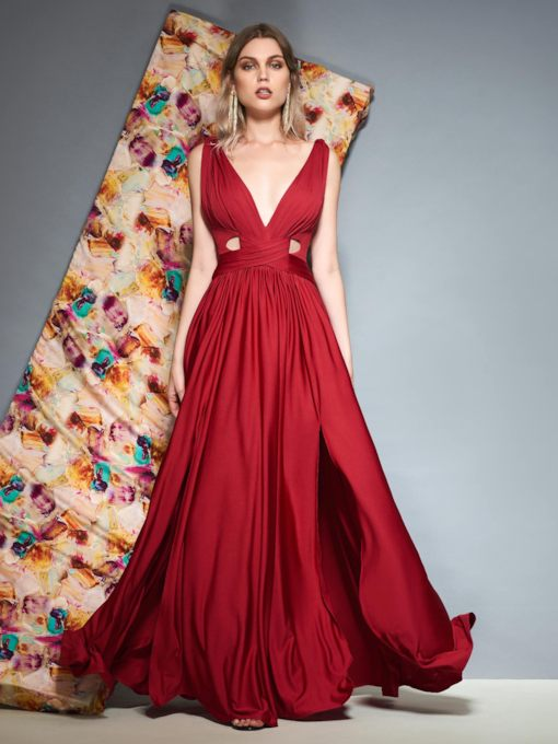 V-Neck Sleeveless Split-Front Floor-Length Evening Dress