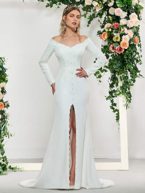 Button Long Sleeves Mermaid Wedding Dress 2019