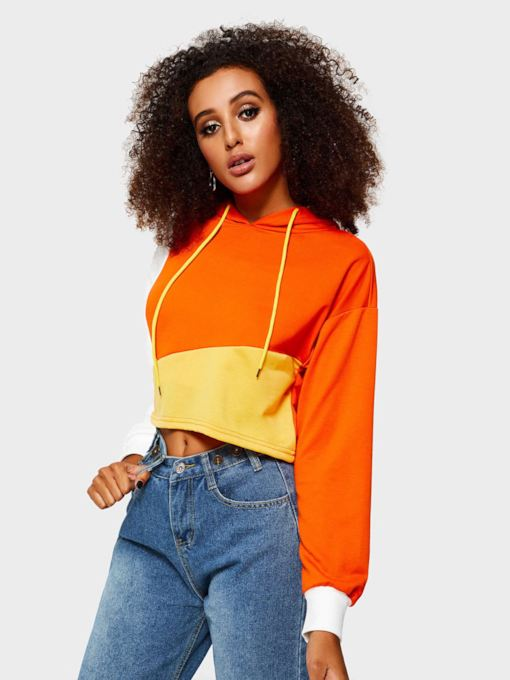Loose Color Block Cropped Women's Hoodie