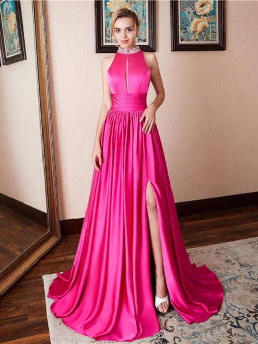 Sweep/Brush A-Line Floor-Length Beading Evening Dress
