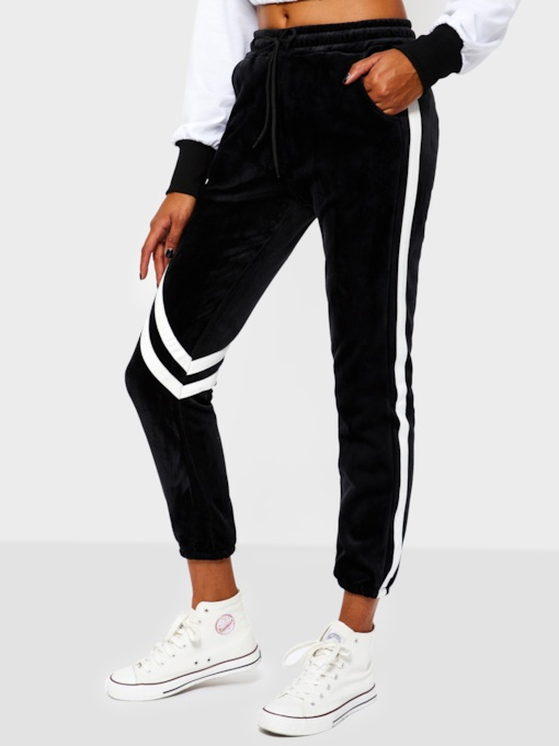 Patchwork Loose Stripe Full Length Women's Casual Pants