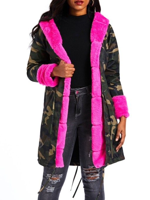 Fluffy Camouflage Faux Fur Hooded Women's Cotton Padded Jacket