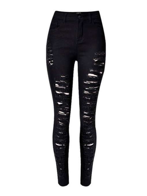 Zipper Plain Pencil Pants High-Waist Women's Jeans