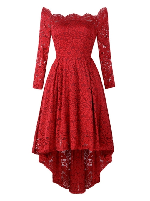 Off Shoulder Asymmetric Long Sleeve Women's Lace Dress
