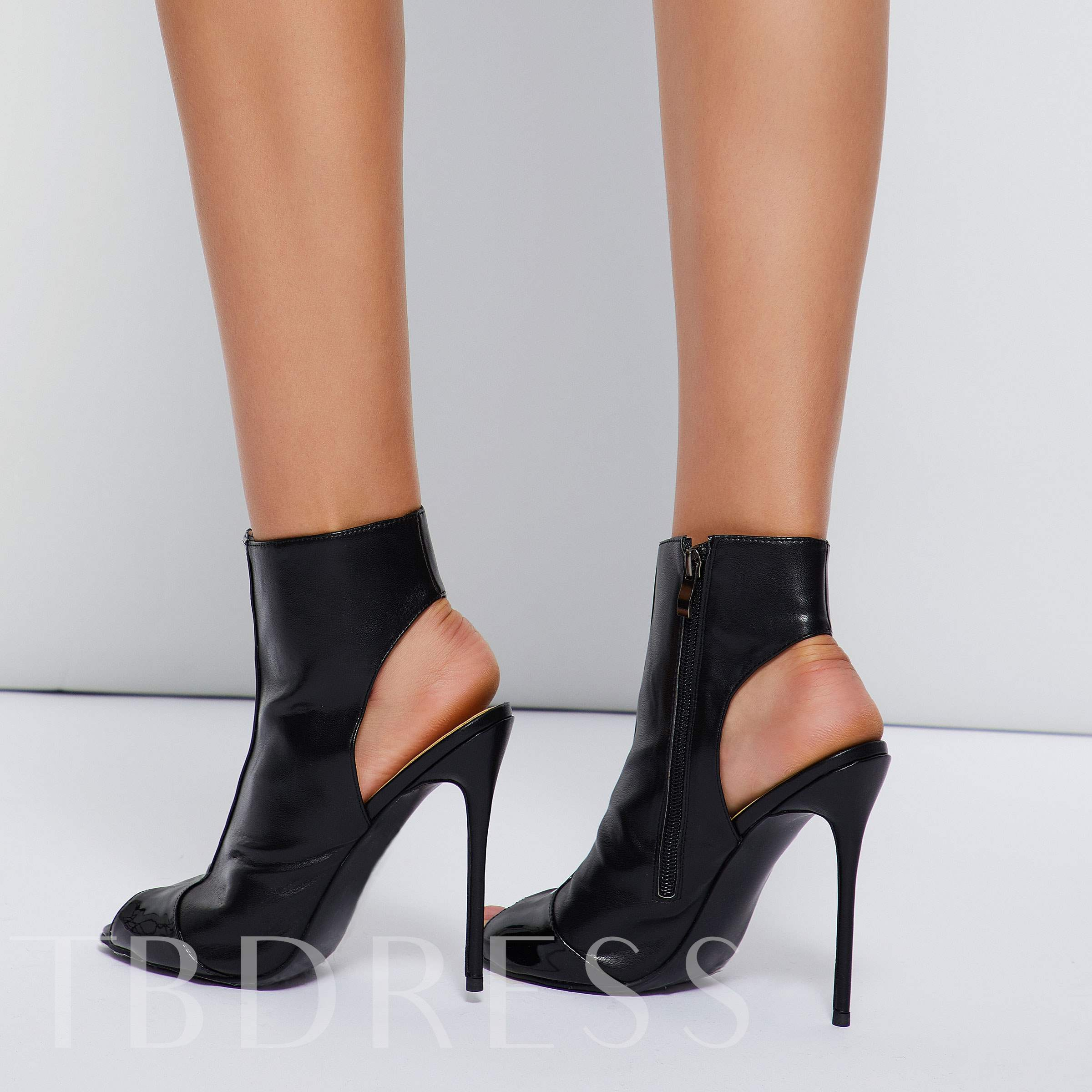 Peep Toe Black Shoes Women's Booties