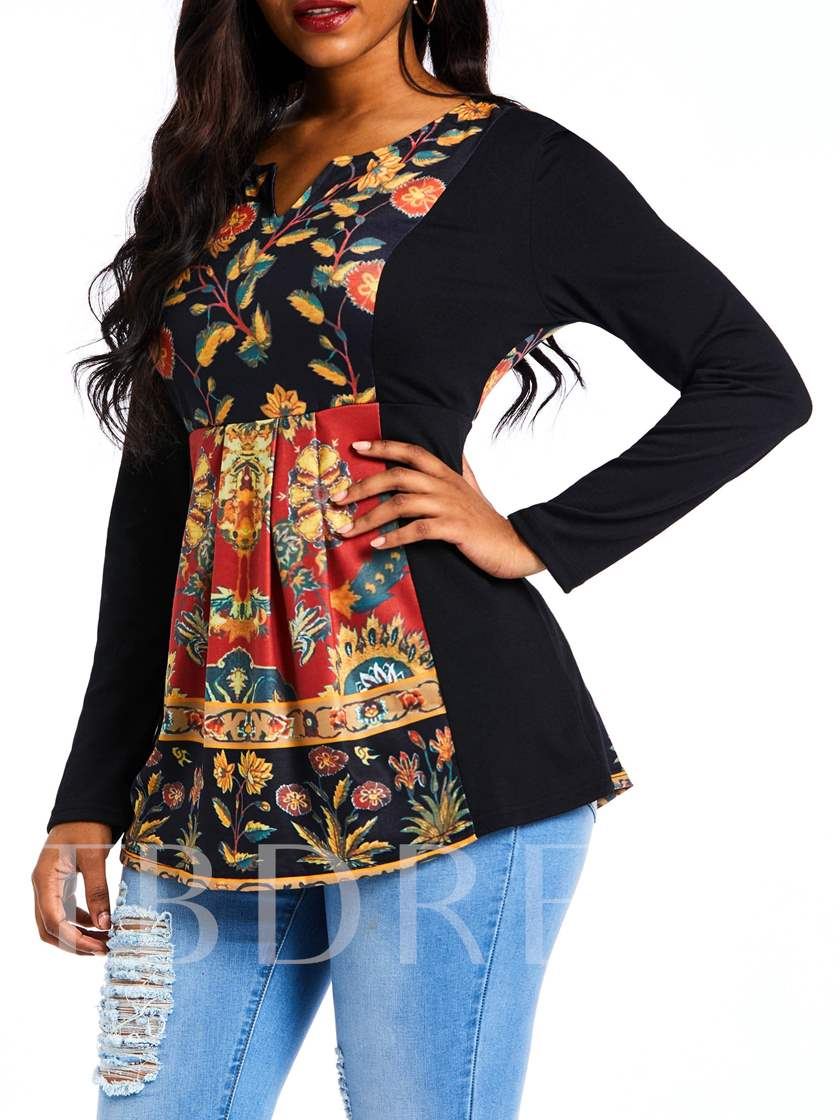 V-Neck Long Sleeve Floral Mid-Length Fall Women's T-Shirt