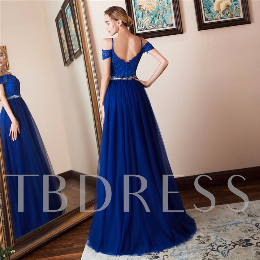 Spaghetti Straps Sleeveless Floor-Length Appliques Evening Dress
