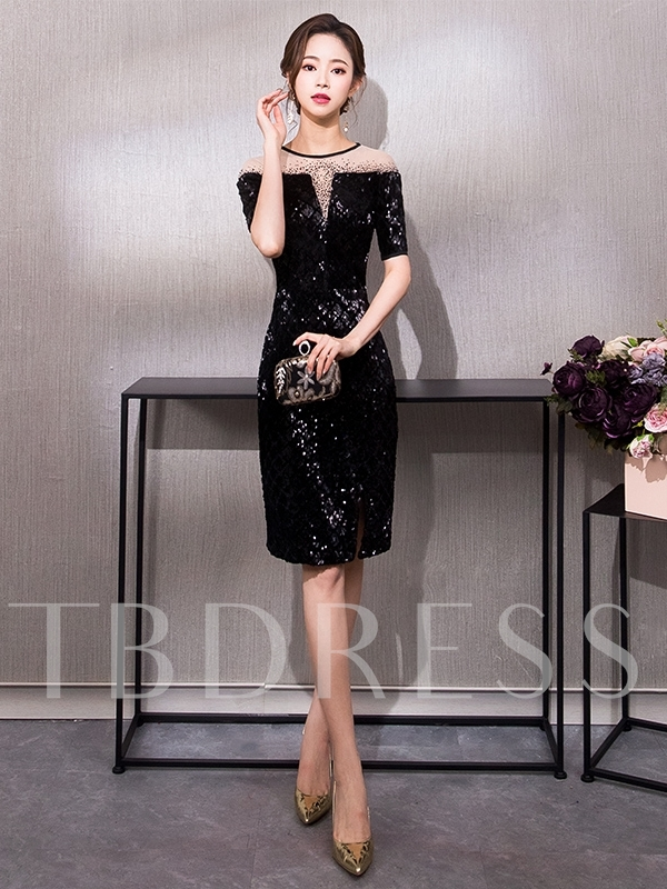 Beading Jewel Column Knee-Length Cocktail Dress