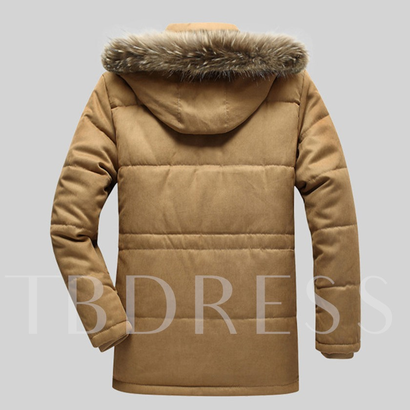 Fleece Lining Stand Collar Men's Parka jacket